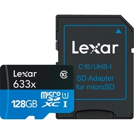 Lexar 128GB microSDHC UHS-I High Speed 633x with Adapter (Class 10)